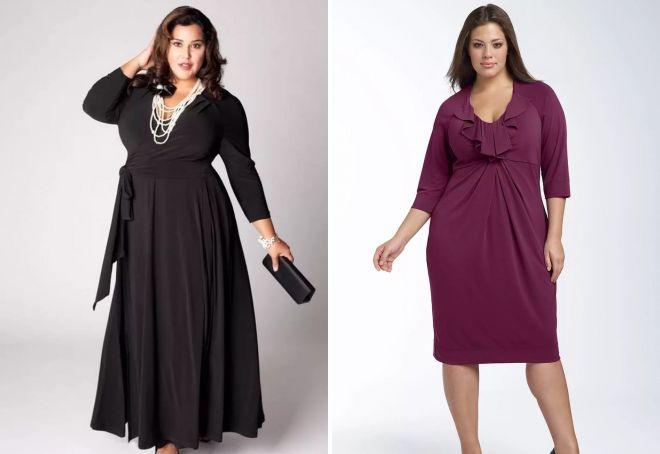 модели трикотажных платьев для полных