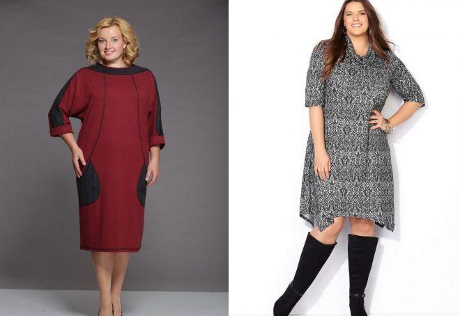 трикотажные платья для полных дам