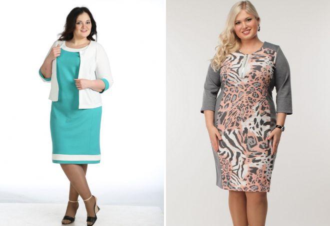 классические трикотажные платья для полных женщин