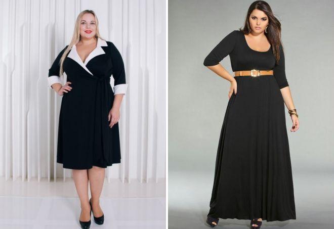черные трикотажные платья для полных