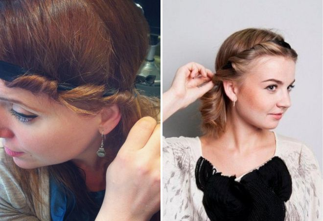 локоны с помощью повязки для волос