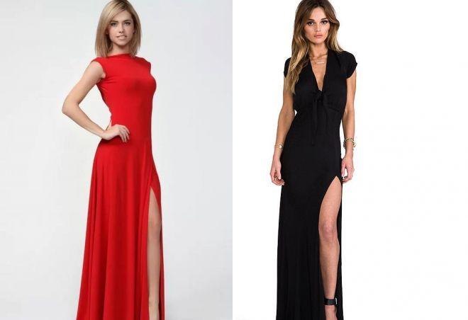 длинные платья с разрезом на ноге