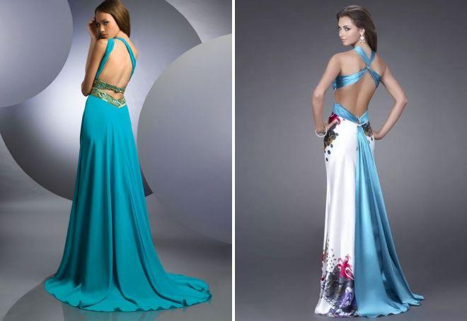 длинные платья с открытой спиной