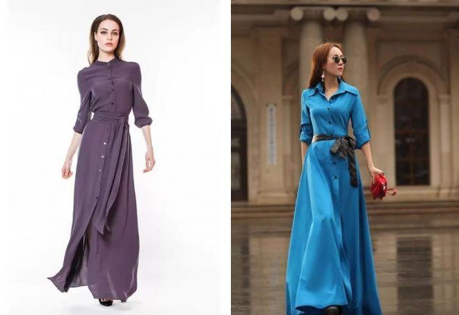 стильные длинные платья