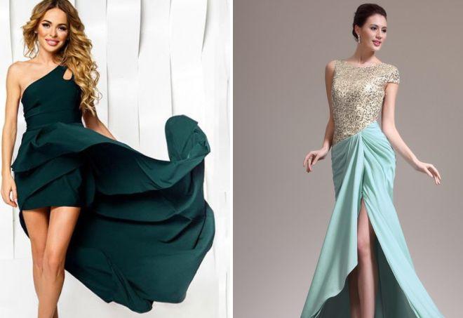 вечернее платье с асимметричным подолом