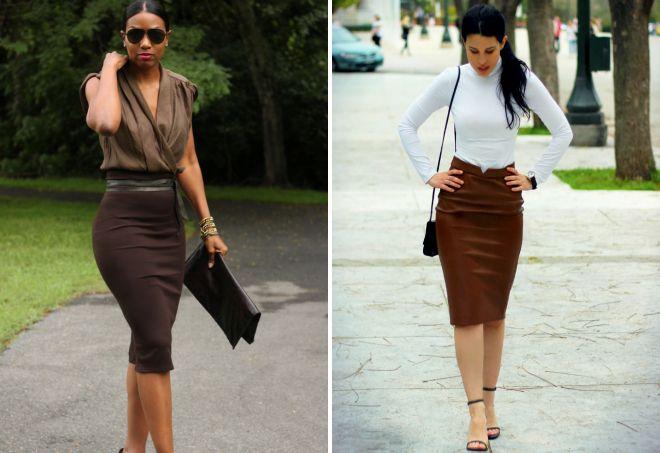 образ с коричневой юбкой