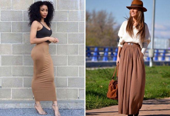 коричневые юбки в пол