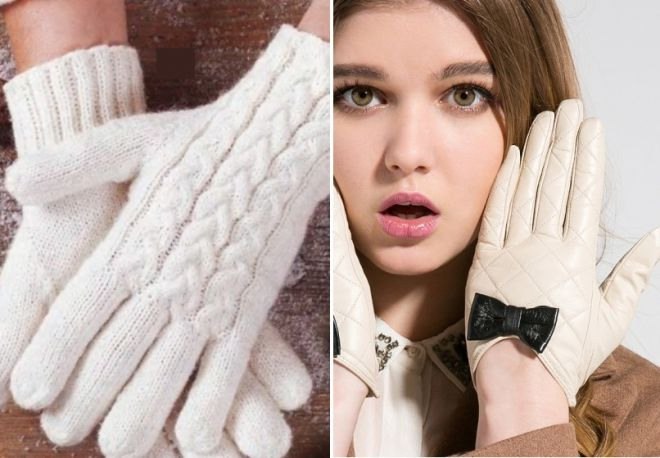 gants tricotés et en cuir blancs