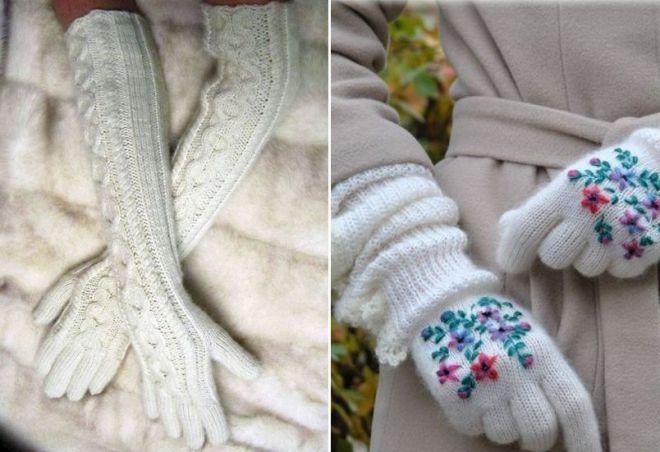 gants d'hiver blancs