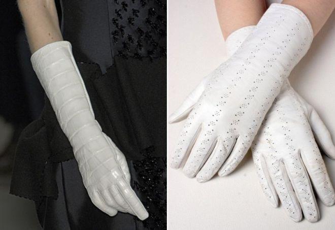 gants blancs hauts et courts