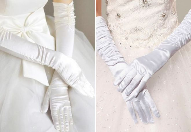 gants de satin blanc