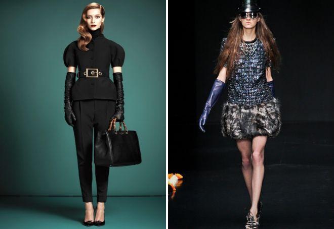 gants noirs à la mode dans une image harmonieuse