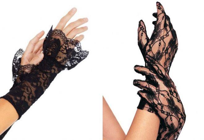 gants sans doigts en dentelle noire
