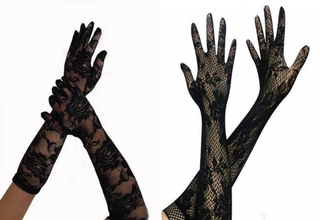 gants de dentelle noire
