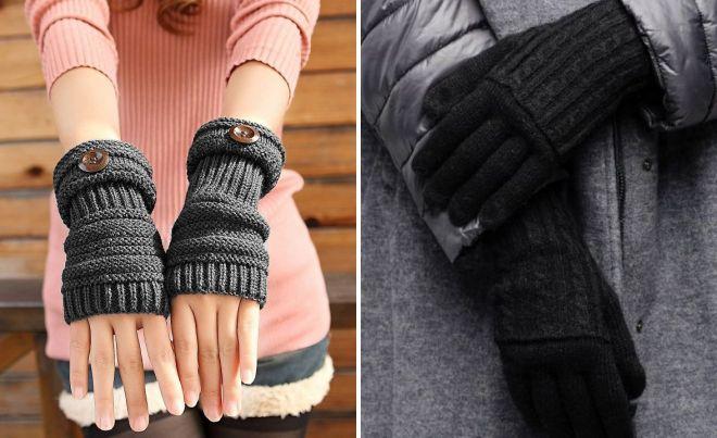 gants de laine noire