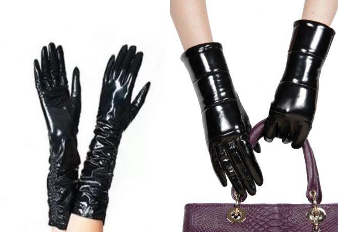 gants en laque noire