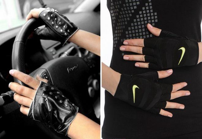 gants noirs sans doigts