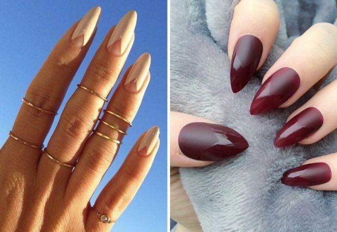 Бежевые ногти острые дизайн 3