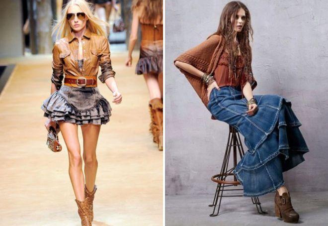с чем носить джинсовую юбку с оборками
