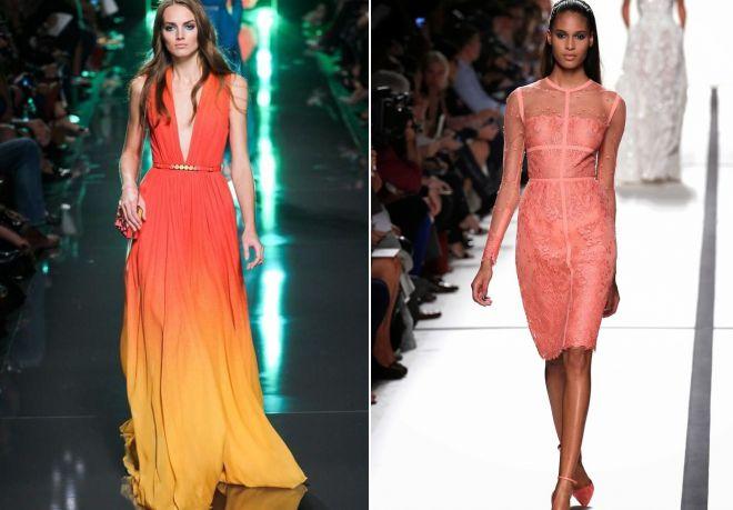 вечерние платья кораллового цвета