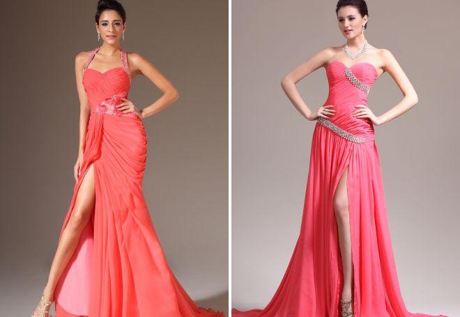 коралловое платье в пол