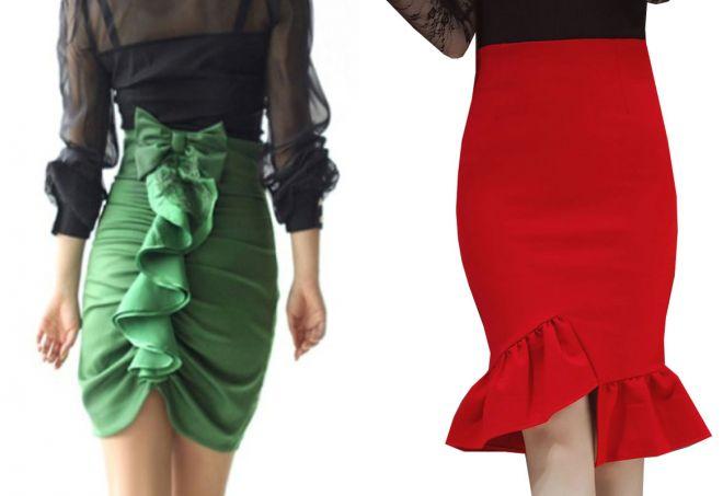 стильная юбка с оборкой