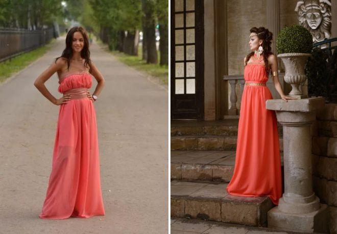 коралловое платье в пол в греческом стиле