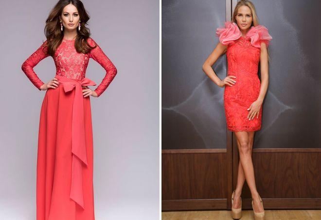 коралловое кружевное платье