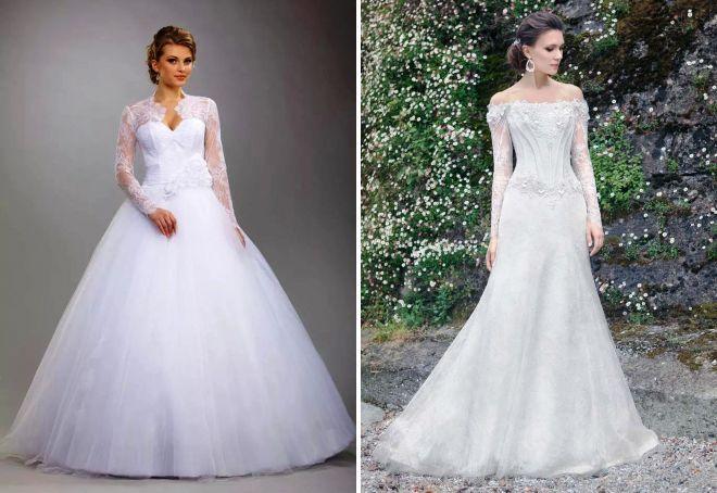 свадебные платья с корсетом и рукавами