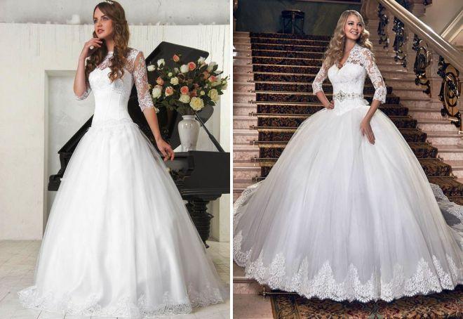 свадебное платье с фатиновой юбкой и корсетом