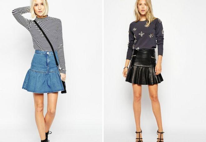 короткие юбки с оборками