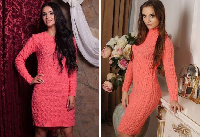вязаное коралловое платье