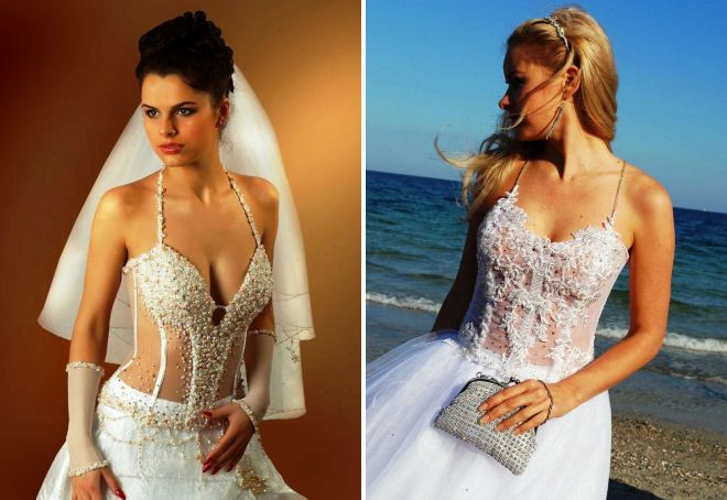 Красивое свадебное платье с корсетом – прозрачным и расшитым, со стразами и жемчугом, с камнями и перьями