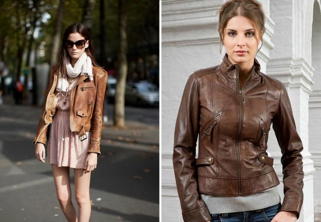 12881068e72 Женская кожаная коричневая куртка – с чем носить