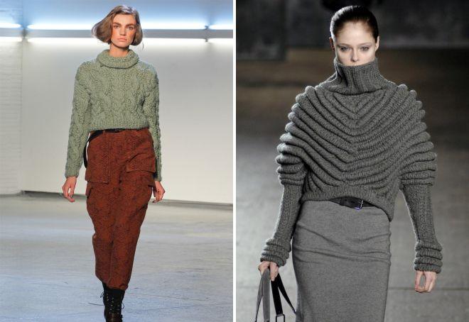 модные и стильные модели вязаных свитеров оверсайз со спущенным