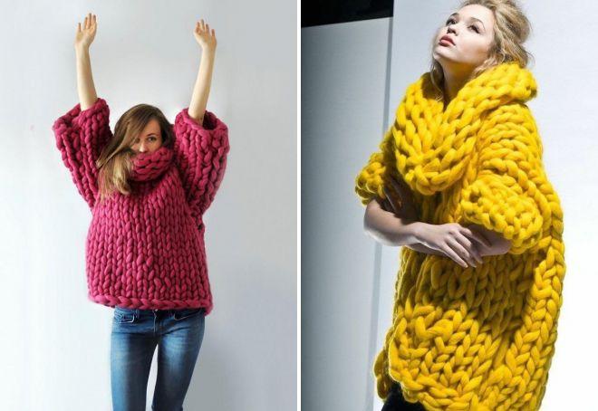 вязаный свитер из толстой пряжи