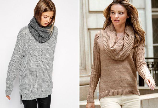 вязаный свитер с горлом