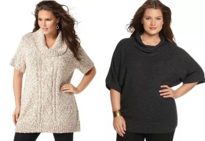 вязаные свитера для полных женщин
