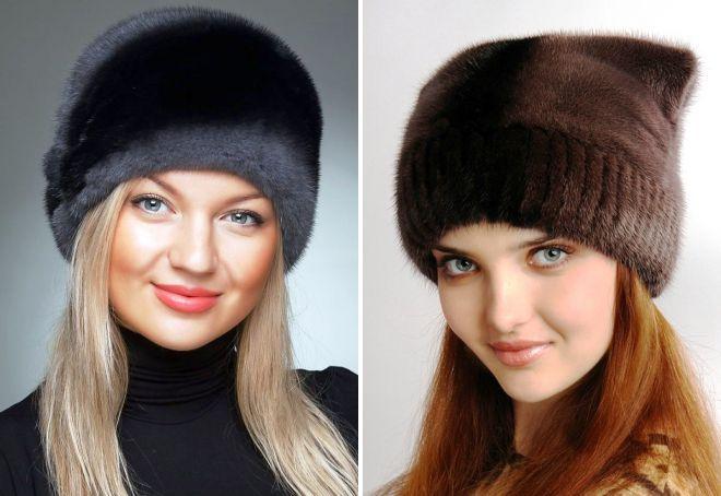 Женские норковые шапки – модные модели с ушками, помпоном