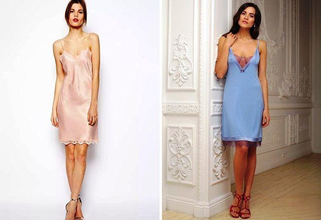 короткое платье комбинация