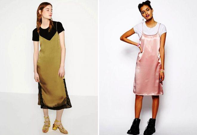 платье комбинация с футболкой