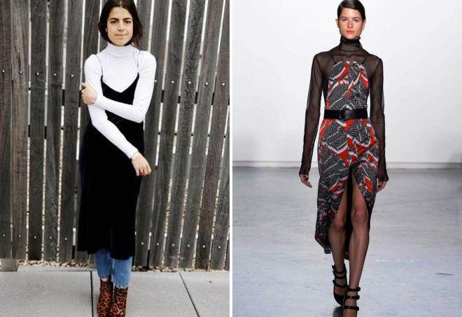 образы с платьем комбинацией