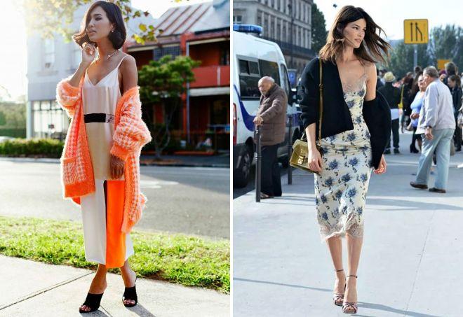 модные платья комбинации с кардиганом