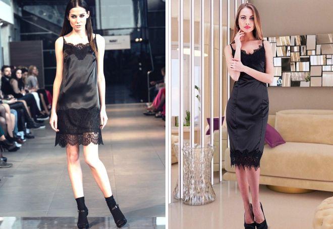 черное платье комбинация