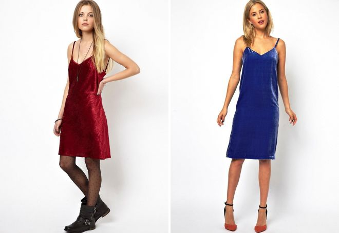 бархатное платье комбинация