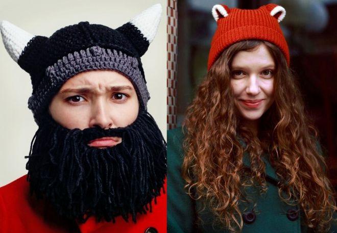 прикольные вязаные шапки для женщин мужчин и детей