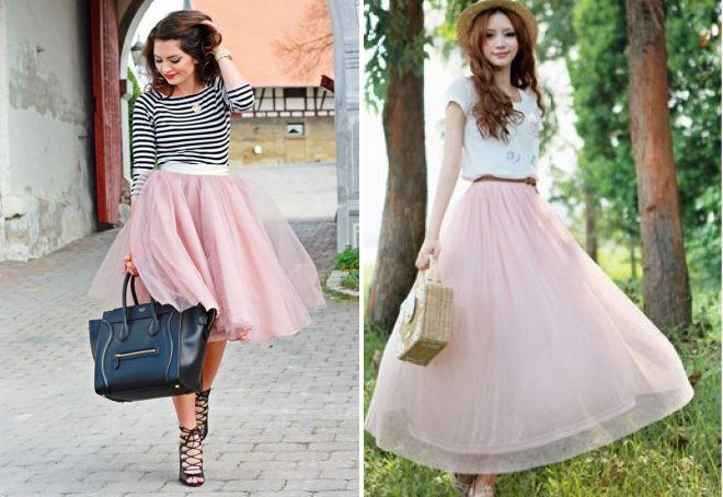 розовая шифоновая юбка