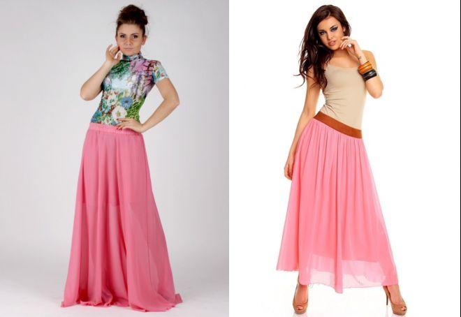 длинная розовая юбка