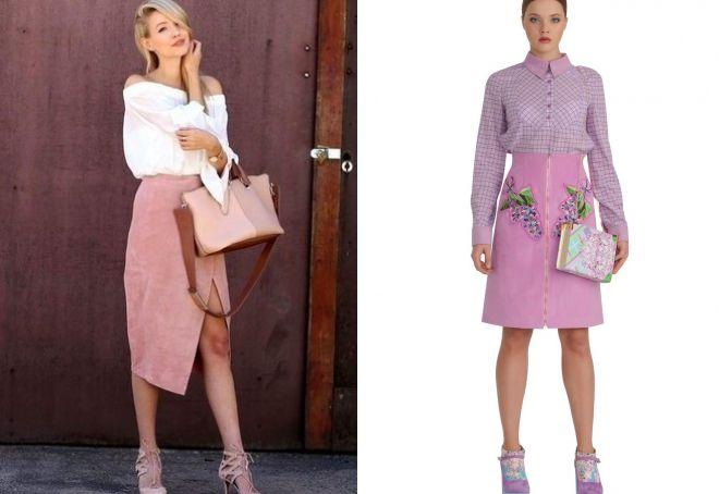 розовая замшевая юбка