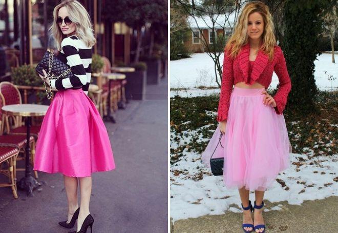 юбка нежно розового цвета
